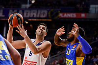 Real Madrid's Felipe Reyes and Maccabi Fox's Sonny Weens during Turkish Airlines Euroleague match between Real Madrid and Maccabi at Wizink Center in Madrid, Spain. January 13, 2017. (ALTERPHOTOS/BorjaB.Hojas)