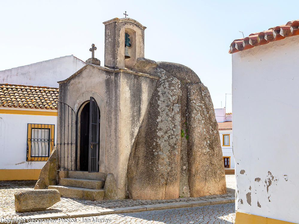 Anta de Pavia, Chapel Dolmen, Pavia village, Alentejo, Portugal, Southern Europe neolithic burial monument converted to Christian chapel