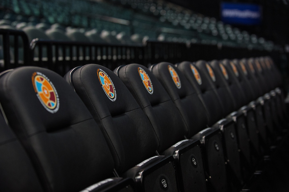 April 2, 2016; Indianapolis, Ind.; A logo for the Division I, Division II and Division III championships adorn chairs along the courtside at Bankers Life Fieldhouse.