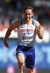 Great Britain's Ashley Bryant competes in the 100m during the men's decathlon during day eight of the 2017 IAAF World Championships at the London Stadium.