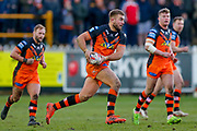 Castleford Tigers second row Mike McMeeken (12) on a run during the Betfred Super League match between Castleford Tigers and Widnes Vikings at the Jungle, Castleford, United Kingdom on 11 February 2018. Picture by Simon Davies.
