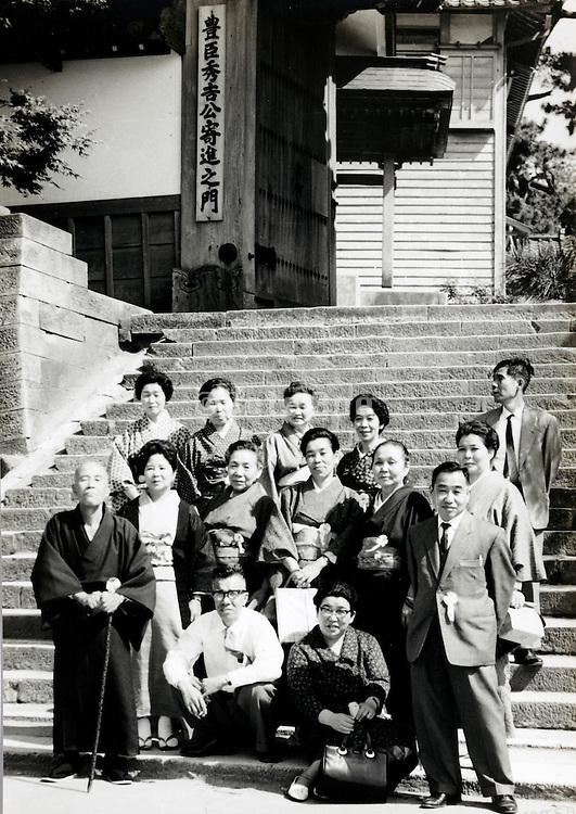 by temple group photo with monk Japan 1965