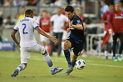August 29, 2018 - San Jose, California, United States - San Jose, CA - Wednesday August 29, 2018: Reggie Cannon, Shea Salinas during a Major League Soccer (MLS) match between the San Jose Earthquakes and FC Dallas at Avaya Stadium. (Credit Image: © John Todd/ISIPhotos via ZUMA Wire)