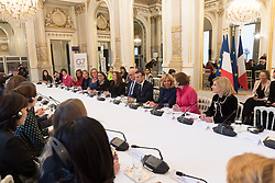 Wided Bouchamaoui, Philippe Etienne, Emmanuel and Brigitte Macron, Alice Albright and Jamie Mc Court during the first meeting of the G7 Gender Equality Advisory Council in Paris, France, on February 19, 2019. Photo by Jacques Witt/Pool/ABACAPRESS.COM