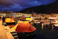Rescue boats used to evaquate the Costa Concordia in the harbour of Giglio island