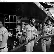 Bryce Harper, (left), Washington Nationals and Max Scherzer in the dugout during the New York Mets Vs Washington Nationals MLB regular season baseball game at Citi Field, Queens, New York. USA. 31st July 2015. Photo Tim Clayton