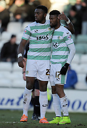 Yeovil Town's Gozie Ugwu congratulates Yeovil Town's Joel Grant after winning a penalty - Photo mandatory by-line: Harry Trump/JMP - Mobile: 07966 386802 - 21/02/15 - SPORT - Football - Sky Bet League One - Yeovil Town v Gillingham - Huish Park, Yeovil, England.