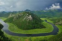 Landscape of Rijeka Crnojevica (Blacks' river), Lake Skadar National Park, Montenegro