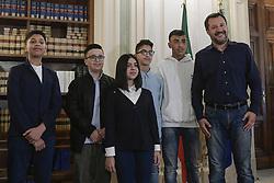 Italy, Rome - March 27, 2019.The Minister of Internal Affairs Matteo Salvini meets Milan's terror bus boy heroes Ramy Sherata, Adam El Hamami, Aurora, Nicolo' and Fabio at the interior ministry  (Credit Image: © Mistrulli/Fotogramma/Ropi via ZUMA Press)