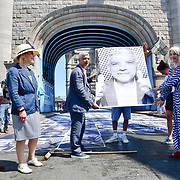 Sadiq Khan, William Russell, Justine Simons attend to celebrates London hosting of UEFA EURO 2020 including both semi finals and the final with thousands of poster laid along Tower Bridge on 13th June 2021, London, UK