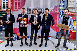 Edinburgh Scotland 7th August 2016 :: Performers from Fringe shows entertain in the High Street to promote their shows.<br /> <br /> Pictured: members of the cast of Spring Awakening'.<br /> <br /> (c) Andrew Wilson | Edinburgh Elite media
