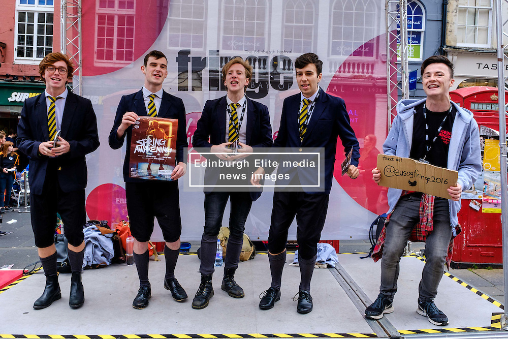 Edinburgh Scotland 7th August 2016 :: Performers from Fringe shows entertain in the High Street to promote their shows.<br /> <br /> Pictured: members of the cast of Spring Awakening'.<br /> <br /> (c) Andrew Wilson   Edinburgh Elite media
