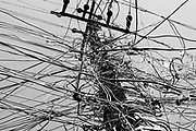 PATNA, INDIA, - SEPTEMBER 17: An electricity pole festooned with multiple wires illegally tapping into the power supply in the Police Lines colony in Patna, India on September 17, 2015. <br />  PHOTOGRAPH BY AND COPYRIGHT OF SIMON DE TREY-WHITE, + 91 98103 99809, <br /> email: simon@simondetreywhite.com, a photographer in delhi<br /> <br /> In Bihar, 30 percent of power is lost to transmission and distribution as well as theft. Of the world's 1.3 billion people who live without access to power, a quarter — about 300 million — live in rural India in states such as Bihar. India, the third-largest emitter of greenhouses gases after China and the United States, has taken steps to address climate change in advance of the global talks in Paris in 2015 — pledging a steep increase in renewable energy by 2030. But India's leaders say that the huge challenge of extending electric service to its citizens means that the country must continue to increase its fossil fuel consumption, at least in the near term, on a path that could mean a threefold increase in greenhouse-gas emissions by 2030, according to some estimates. Energy access is worse in rural areas. Bihar, one of India's poorest states, has a population of 103 million, nearly a third the size of the United States. Fewer have electricity as the primary source of lighting there than in any other place in India, just over 16 percent, according to 2011 census data. Families still light their homes with kerosene lamps and cook on clay stoves with cow-dung patties or kindling.