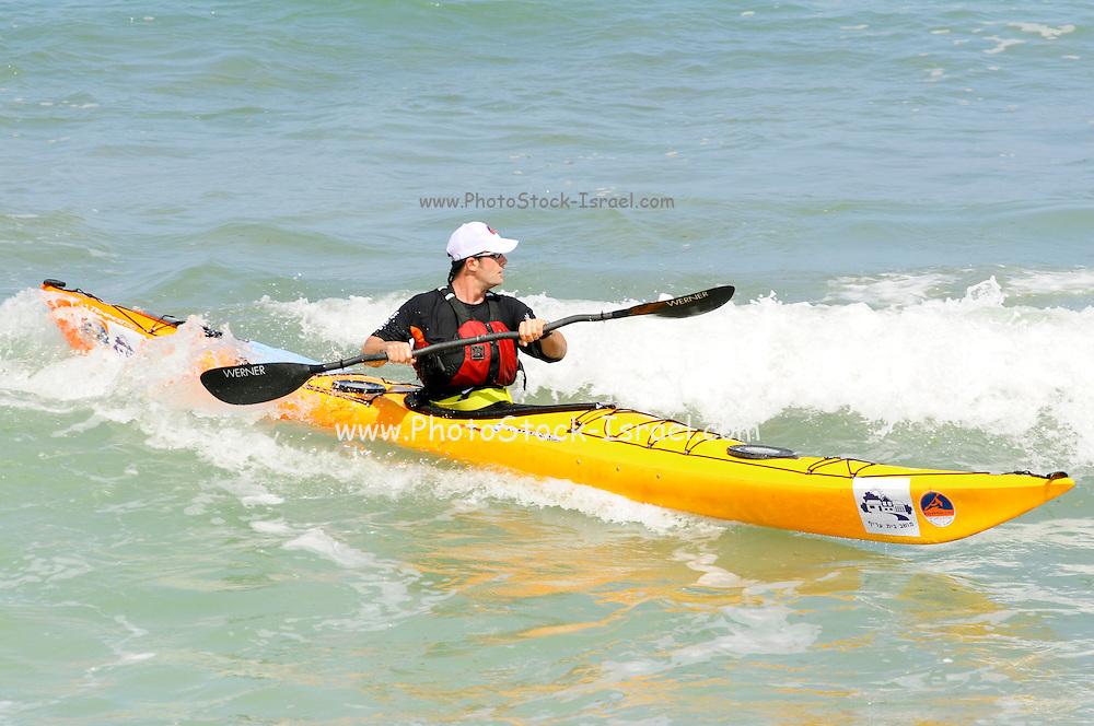 Israel, Caesarea, Kayak in the Mediterranean sea