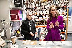 The Duchess of Cambridge in the Stock Room with Morag Beaton, Stock room supervisor during her visit to the Royal Opera House in London.