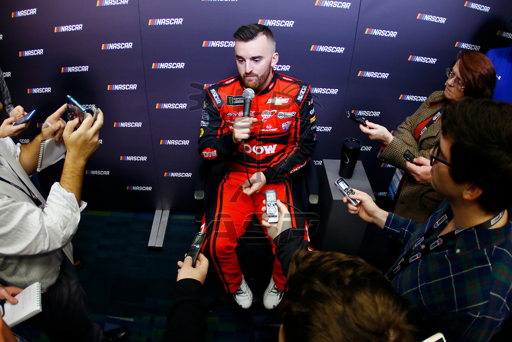 January 23, 2018 - Charlotte, North Carolina, USA: Austin Dillon (3) meets with the media before the NASCAR Media Tour at Charlotte Convention Center in Charlotte, North Carolina.