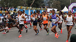 December 16, 2018 - Kolkata, West Bengal, India - Elite group of athletes run during Tata Steel Kolkata 25K 2018. (Credit Image: © Saikat Paul/Pacific Press via ZUMA Wire)