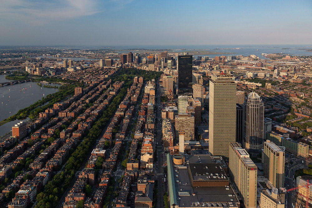 An aerial view of Boston while flying above the Back Bay in a Bell 206 helicopter.