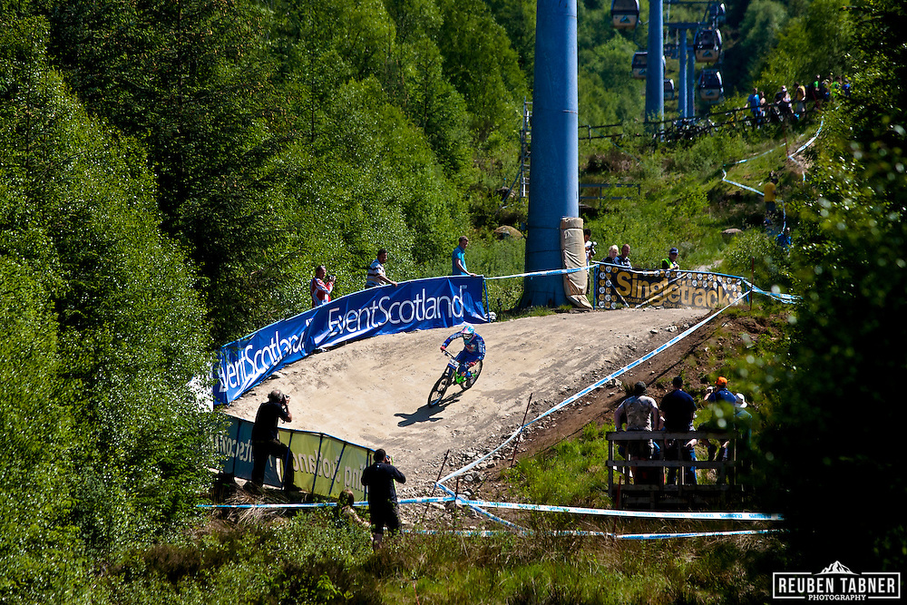 Myriam Nicole (FRA) of Commencal Superiders during downhill qualification at the UCI Mountain Bike World Cup in Fort William, Scotland.
