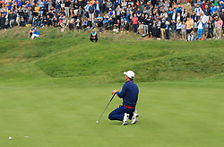 Team Europe's Thorbjorn Olesen reacts on the seventh green during the Fourballs match on day one of the Ryder Cup at Le Golf National, Saint-Quentin-en-Yvelines, Paris.
