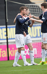 Falkirk's Rory Loy celebrates after scoring their second goal.<br /> Falkirk 5 v 0 Cowdenbeath, Scottish Championship game played today at The Falkirk Stadium.<br /> © Michael Schofield.