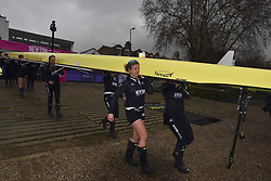 March 24, 2018 - London, United Kingdom - Oxford University Women's Boat Club blue crew take to the water prior The Cancer Research UK Boat Race, London on March 24, 2018. Cambridge were victorious in both The Cancer Research UK Women's Boat Race 2018 and The Cancer Research UK Men's Boat Race 2018. (Credit Image: © Alberto Pezzali/NurPhoto via ZUMA Press)