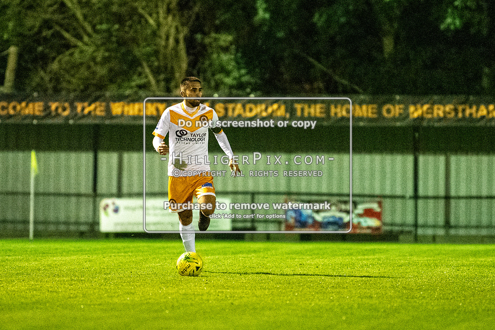 MERSTHAM, UK - OCTOBER 15: Barney Williams, of Cray Wanderers FC, during the BetVictor Isthmian Premier League match between Merstham and Cray Wanderers at The Whisky Bible Stadium on October 15, 2019 in Merstham, UK. <br /> (Photo: Jon Hilliger)