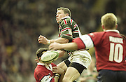 Watford. Great Britain. <br /> Tim STIMPSON, jumping to challenge for the high kicked ball, during the <br /> Heineken Cup Semi Final; Gloucester Rugby vs Leicester Tigers. Vicarage Road Stadium, Hertfordshire.England.  <br /> <br /> [Mandatory Credit, Peter Spurrier/ Intersport Images].