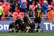 Morpeth celebrate their third goal during the FA Vase match between Hereford FC  and Morpeth Town at Wembley Stadium, London, England on 22 May 2016. Photo by Dennis Goodwin.