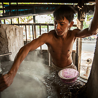 A back alley rice noodle factory in Ho Chi Minh City, Vietnam.