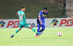 23102018 (Durban) Cape Town City player Matsi Mpho tackling for a ball with Amazulu Player Nhlanhla Vilakazi during the first round of the Telkom Knockout concludes on Tuesday night when Amazulu host MTN8 Cup winners Cape Town City at the King Zwelithini stadium.<br /> Picture: Motshwari Mofokeng/African News Agency (ANA)