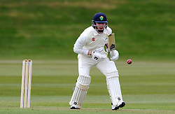 Glamorgan's James Kettleborough hits the ball of the bowling of Somerset's Lewis Gregory - Photo mandatory by-line: Harry Trump/JMP - Mobile: 07966 386802 - 23/03/15 - SPORT - CRICKET - Pre Season Fixture - Day 1 - Somerset v Glamorgan - Taunton Vale Cricket Club, Somerset, England.