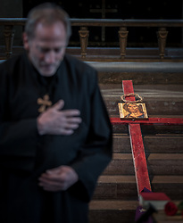 14 April 2017, Stockholm, Sweden: Good Friday service in Högalid Church, Church of Sweden. Gunnar Lind led the service.
