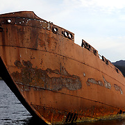 The hull of a wrecked S.S. Charcot sticks out of the water near the Conception Bay beach in Conception Harbour, Newfoundland and Labrador, Canada, on Wednesday, June 5, 2019. Two other ships, the S.S. Southern Foam and S.S. Sukha, sit underwater at this site. THE BLADE/KURT STEISS <br /> MAG NewfoundlandXX