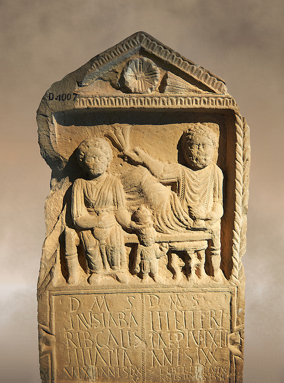 Second century Roman Christian funerary stele for 3 dead people from Africa Proconsularis. The stele depicts the deceased:  Fausata who died age 75, a man who died age 70 and a child who died age 2 years 6 months. From the first half of the second century AD from the region of Bou Arada in present day Tunisia. The Bardo National Museum, Tunis, Tunisia. .<br /> <br /> If you prefer to buy from our ALAMY STOCK LIBRARY page at https://www.alamy.com/portfolio/paul-williams-funkystock/greco-roman-sculptures.html . Type -    BARDO    - into LOWER SEARCH WITHIN GALLERY box - Refine search by adding a subject, place, background colour, museum etc.<br /> <br /> Visit our CLASSICAL WORLD HISTORIC SITES PHOTO COLLECTIONS for more photos to download or buy as wall art prints https://funkystock.photoshelter.com/gallery-collection/The-Romans-Art-Artefacts-Antiquities-Historic-Sites-Pictures-Images/C0000r2uLJJo9_s0c