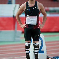 Paralympic competitior Oscar Pistorius from South-Africa prepares for competition during Istvan Gyulai Memorial Hungarian Athletics Grand Prix 2011, in the Ferenc Puskas Stadium in Budapest, Hungary on July 30, 2011. ATTILA VOLGYI
