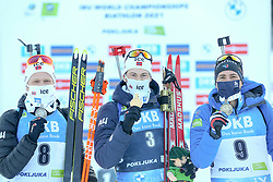 Second placed Johannes Dale of Norway, winner Sturla Holm Laegreid of Norway and third placed Quentin Fillon Maillet of France celebrates with medals during the IBU World Championships Biathlon 15 km Mass start Men competition on February 21, 2021 in Pokljuka, Slovenia. Photo by Vid Ponikvar / Sportida