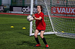 YSTRAD MYNACH, WALES - Friday, April 7, 2017: Pupils from Natasha Hardings old school take part in a football training session led by the Welsh FA ahead of the Women's International Friendly match against Northern Ireland at Ystrad Mynach. (Pic by Laura Malkin/Propaganda)