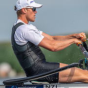 Isaac Grainger  , New Zealand elite  Mens Single Scull <br /> <br /> Racing the heats at FISA World Rowing Cup III on Friday 12 July 2019 at the Willem Alexander Baan,  Zevenhuizen, Rotterdam, Netherlands. © Copyright photo Steve McArthur / www.photosport.nz