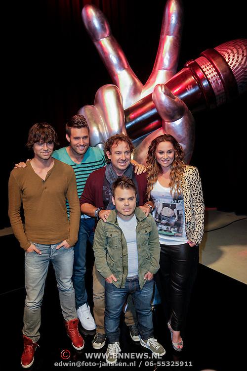 NLD/Hilversum/20120821 - Perspresentatie 3de seizoen The Voice of Holland 2012 / 2013, Marco Borsato, Trijntje Oosterhuis, Nick & Simon, Simon Keizer, Nick Schilder en Roel van Velzen