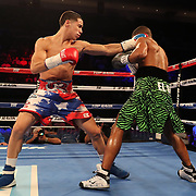 NEW ORLEANS, LA - JULY 14:  Jean Carlos Rivera lands a left hand to the head of Angel Luna during the Regis Prograis v Juan Jose Velasco ESPN boxing match at the UNO Lakefront Arena on July 14, 2018 in New Orleans, Louisiana.  (Photo by Alex Menendez/Getty Images) *** Local Caption *** Jean Carlos Rivera; Angel Luna