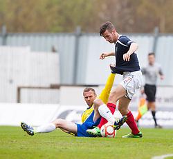 Morton's Colin McMenamin holds Falkirk's Kieran Duffie..Falkirk 4 v 1 Morton, 4/5/2013..© Michael Schofield..