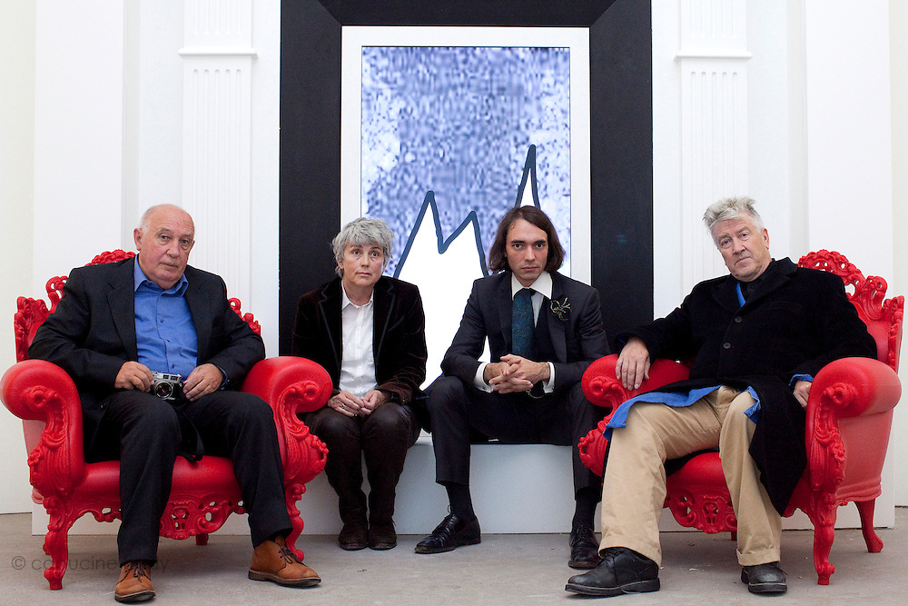 Fondation Cartier. Paris, France. October 18th 2011..From left to right : Raymond Depardon, Claudine Nougaret, Cedric Villani, David Lynch