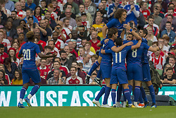 August 2, 2018 - Dublin, Ireland - Chelsea players celebrate scoring during the International Champions Cup match between Arsenal FC and Chelsea FC at Aviva Stadium in Dublin, Ireland on August 1, 2018  (Credit Image: © Andrew Surma/NurPhoto via ZUMA Press)