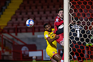 Crawley Town forward Ashley Nadesan (#10) sees his header go wide during the EFL Sky Bet League 2 match between Crawley Town and Walsall at The People's Pension Stadium, Crawley, England on 16 March 2021.