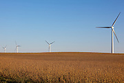 Wind turbines in rural areas are part of the new sustainable energy future of the United States.
