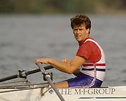 Bled, Slovenia, YUGOSLAVIA.  GBR M4X, Bow Richard STANHOPE, 1989 World Rowing Championships, Lake Bled. [Mandatory Credit. Peter Spurrier/Intersport Images]