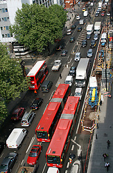 ©  London News Pictures 05/05/2011. Traffic slowly moves slowly westward on Euston road. The A501 Euston Road Underpass is closed westbound due to an traffic incident. 05/05/2011  Westbound traffic at Euston Underpass is being diverted via Gower Street causing heavy congestion around the surrounding roads. A white box van involved in the incident remains on the westbound lane of the Euston Underpass, both westbound entrance and exit ramps are covered with fuel or oil, the underpass remains closed. Photo Credit should read: Simon Lamrock/LNP