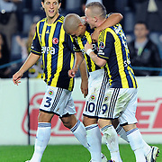 Fenerbahce's Mirosloav STOCH (R) celebrate his goal with team mate during their Turkish superleague soccer match Fenerbahce between Istanbul BB at the Sukru Saracaoglu stadium in Istanbul Turkey on Saturday 01 October 2011. Photo by TURKPIX