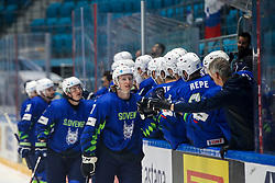 Jan Drozg of Slovenia and players of Slovenia celebrate during ice hockey match between Slovenia and Lithuania at IIHF World Championship DIV. I Group A Kazakhstan 2019, on May 5, 2019 in Barys Arena, Nur-Sultan, Kazakhstan. Photo by Matic Klansek Velej / Sportida